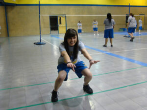 Lydia Covarrubias demonstrates some of the exercises Mr. Cabatbat recommends to stay healthy. /Marc Esquivel • The Brand