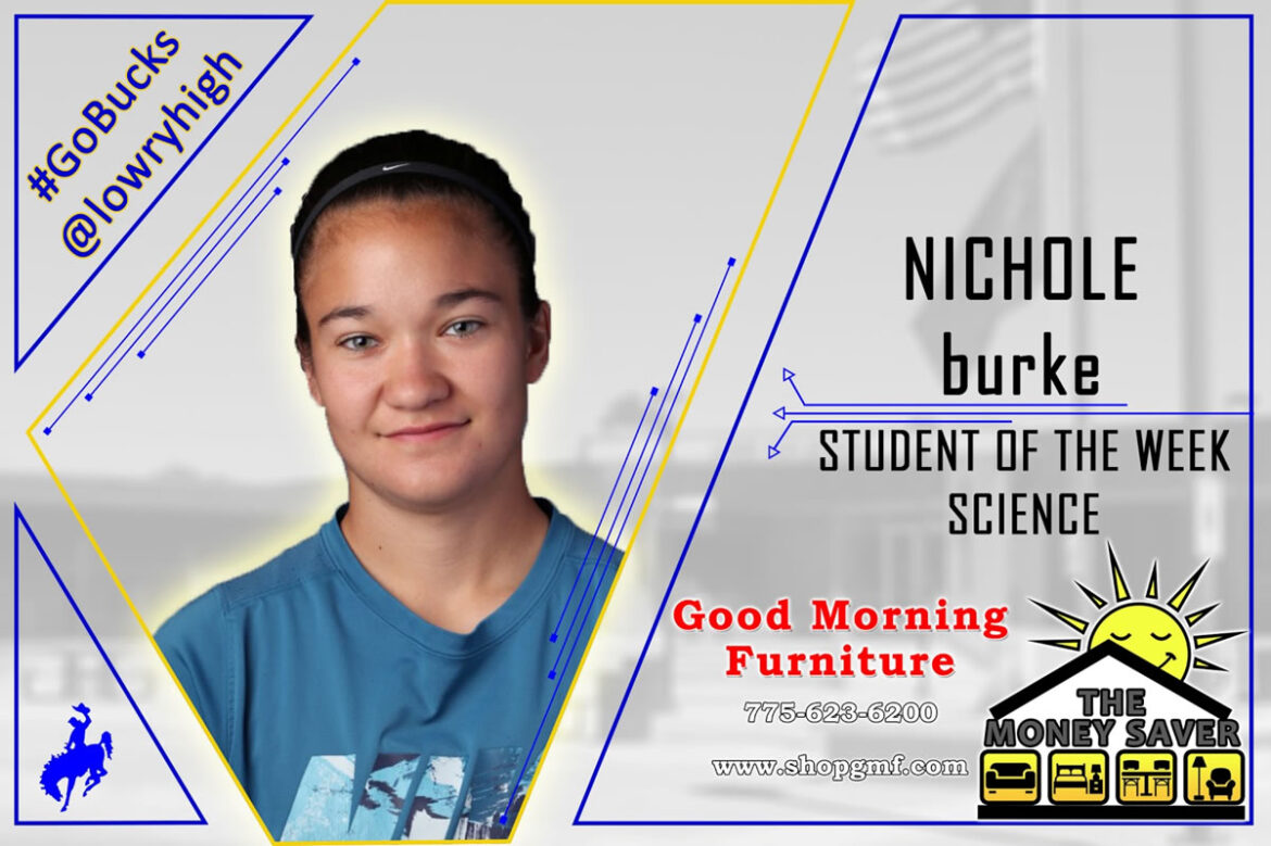 Mrs. Mattson selects Nichole Burke as Student of the Week for the Science Department