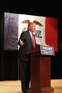 Donald Trump speaking at a rally./Courtesy • Dave Davidson from Pixabay