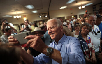 Former Vice President of the United States Joe Biden speaking with supporters at a community event at the Best Western Regency Inn in Marshalltown, Iowa./Courtesy • Gage Skidmore via Flickr