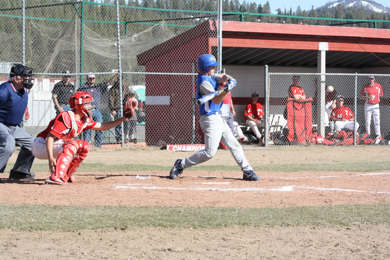 Jace Billingsley singles against Truckee./Ron Espinola • THE BRAND