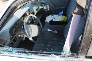 One of the cars that was vandalized on February 27, 2009./Ron Espinola• The Brand