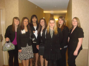 Members of FBLA take a break from competition to pose for a group photo. /Courtesy • Winnada