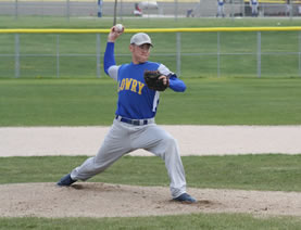 Tanner Schmidt pitches against Spring Creek./ Staff • The Brand