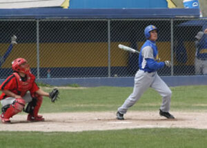 Senior Mario Diaz hits a single in the Bucks May 5, 2009 game against Pershing County./Jayna Hill • The Brand
