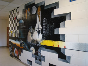 Art students paint mural to liven up halls of CTE building