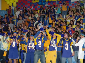 Students at the 2008 Homecoming assembly. /Ron Espinola • The Brand