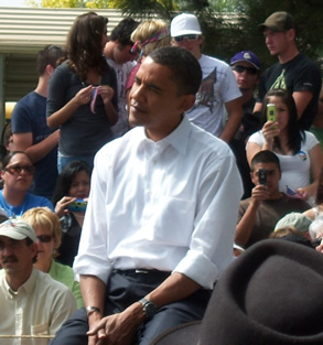 Democratic presidential candidate Barack Obama at his rally in Elko./ amy Balagna • The Brand