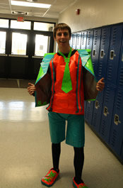 Brad Pearce shows his wardrobe on Duct Tape day. /Mary Granath • The Brand