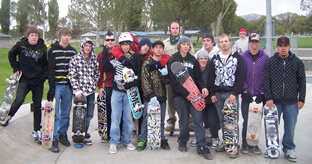 Cameron White, Colton Toblert, Chance Potts, Daniel Lockaby and Clay White with friends at the Winnemucca Skate Park./Courtesy • Winnada