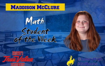 Mr. Adam Sorenson announces Maddison McClure as Student of the Week