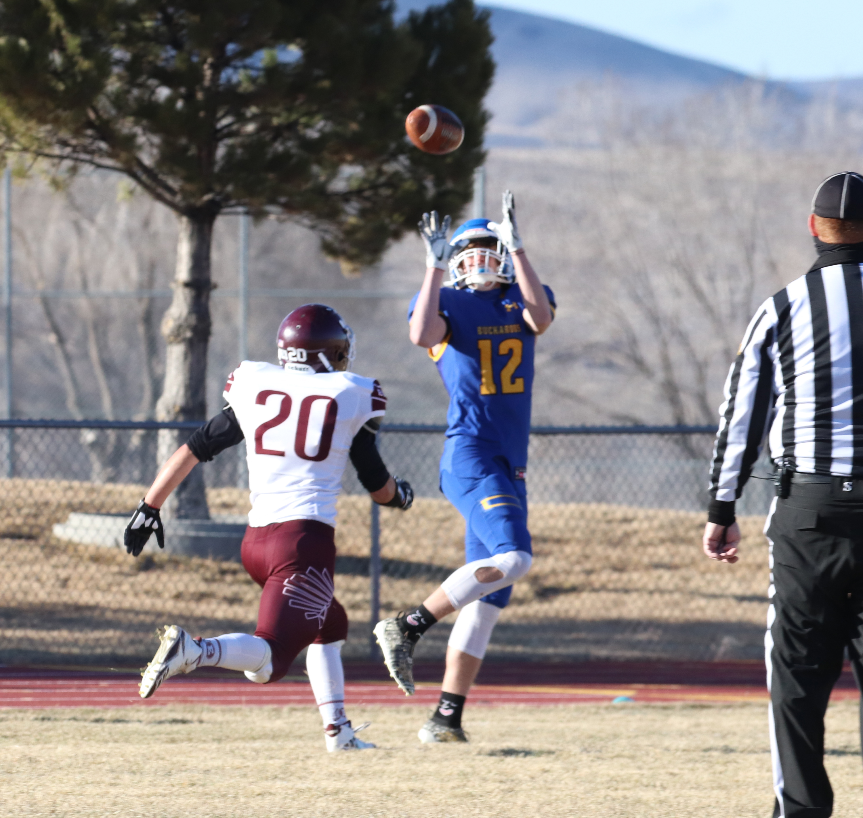 Anthony Gildone catches a pass from Caden Ricci. /Ron Espinola • The Brand