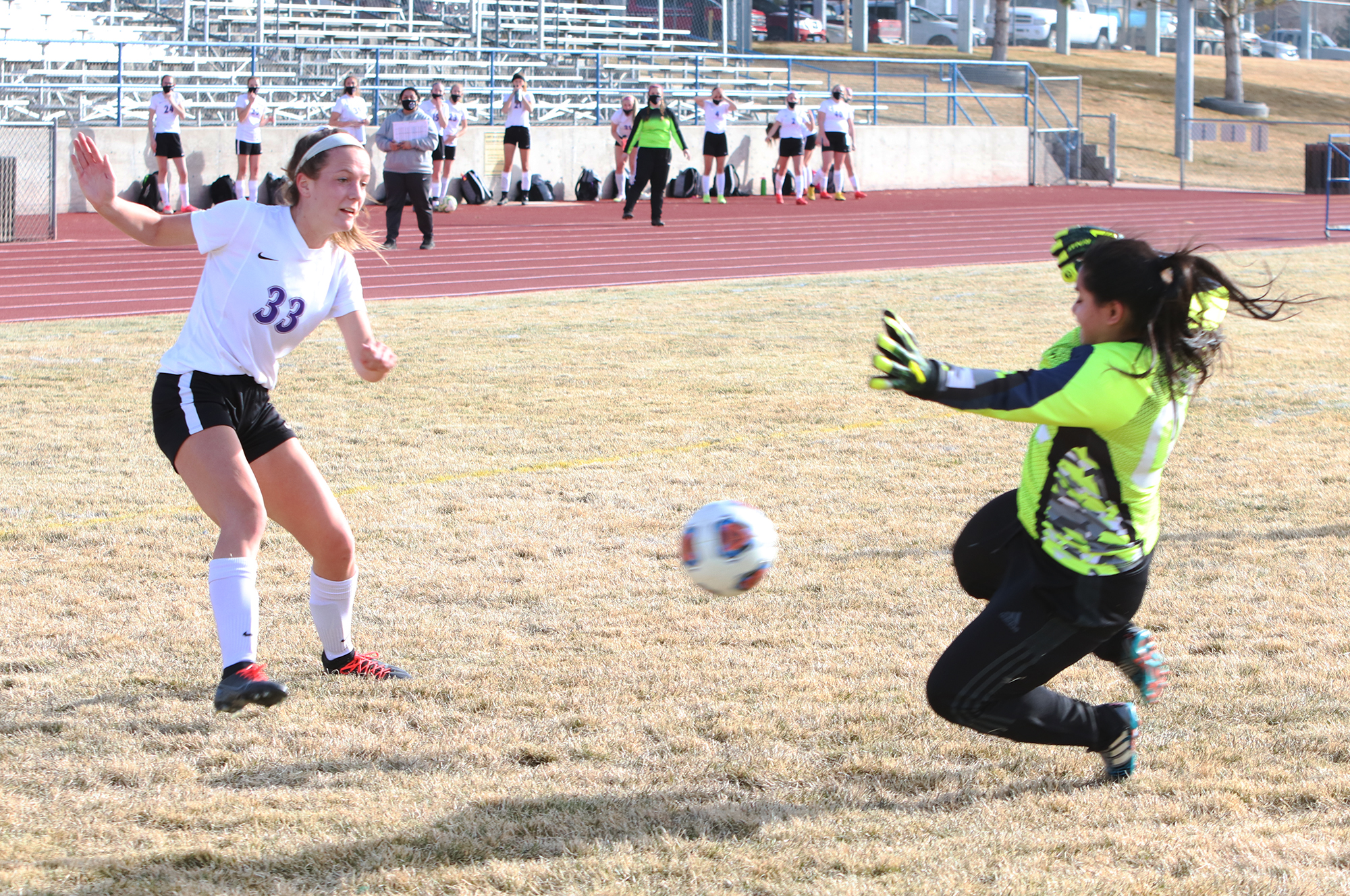 Abigail Magaña blocks a shot against Spring Creek. /Ron Espinola • The Brand