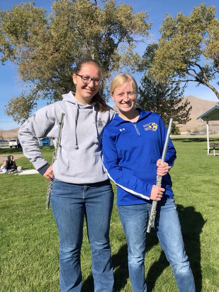 Zoey Thies and Mackenzie Swensen at a Winnemucca Backyard Band performance. /Courtesy