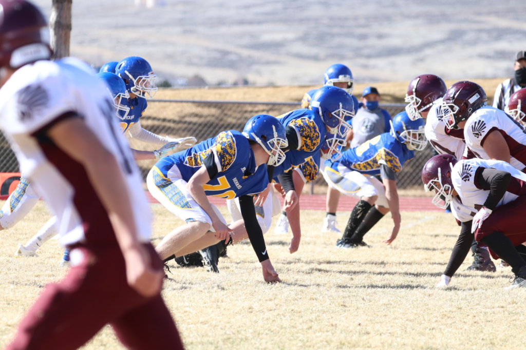JV Lowry football lined up against Elko. /Ron Espinola • The Brand