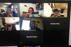 Holly Meyer and Jennifer Partee in a Zoom call with five students./Courtesy • Holly Meyer