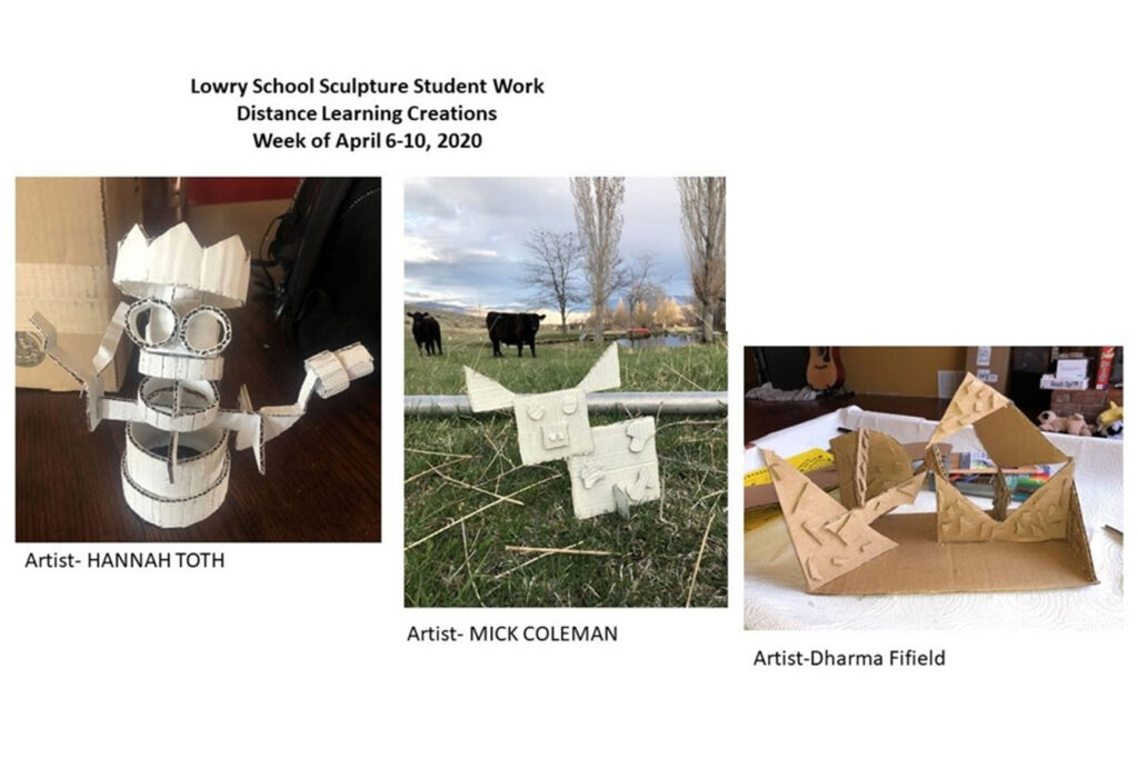 Three sculpture pieces that were created from home during distance learning./Courtesy • Julia Topholm, Hannah Toth, Mick Coleman, Dharma Fifield