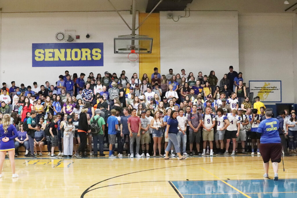 Seniors at the first assembly of the year./Ron Espinola • The Brand