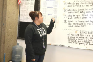 Chelsea Odoms instructs students during her Of Mice and Men unit./Clarissa Olson • The Brand