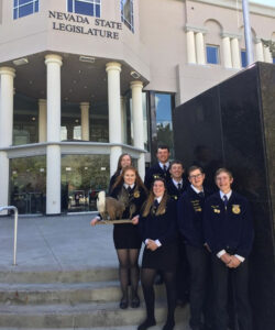 Members of the FFA Ag Issues team posing at the state capital./ Courtesy • Rebecca Hill