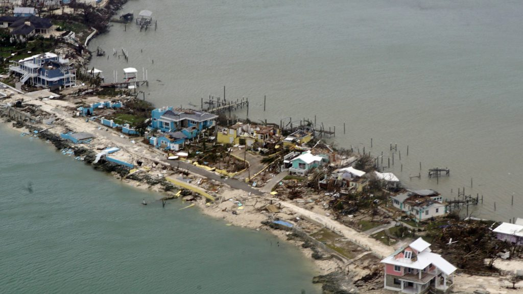 BAHAMAS (Sept. 3, 2019) Overhead view of a row of damaged structures in the Bahamas from a Coast Guard Elizabeth City C-130 aircraft after Hurricane Dorian shifts north Sept. 3, 2019. Hurricane Dorian made landfall Saturday and intensified into Sunday. /Courtesy • U.S. Coast Guard photo by Petty Officer 2nd Class Adam Stanton