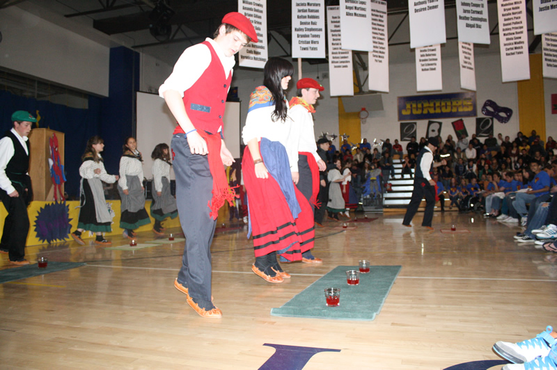 Basque dancers performing the wine dance at the Academic Assembly. /Shandee Sullivan • The Brand