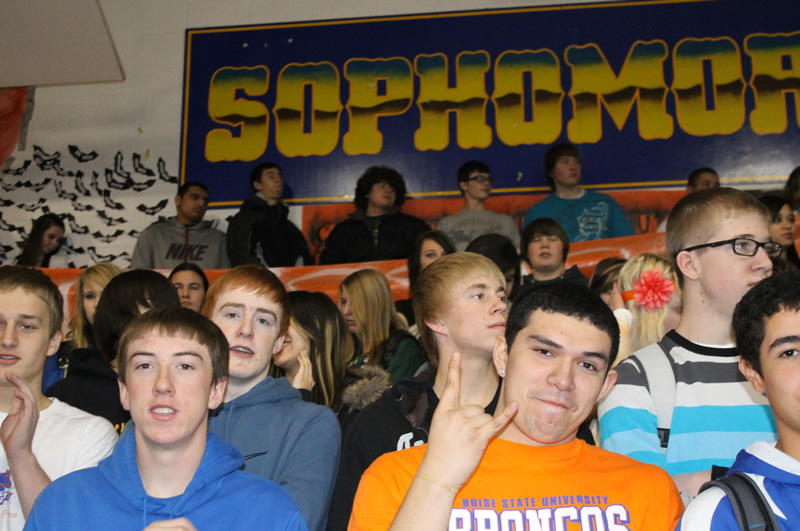 The Sophomore class during the Monday Pep Assembly ./Justin Albright • The Brand