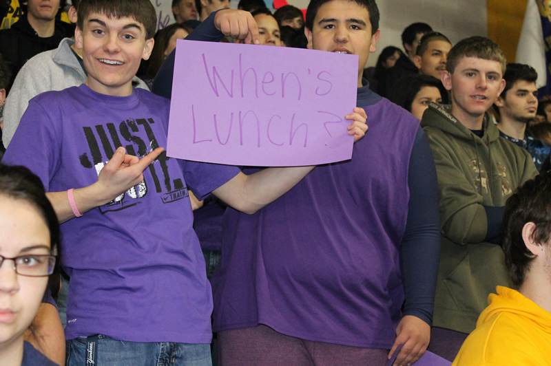 """Alex Nimmick and Tyler Duran showed off their """"When's Lunch?"""" sign at the Assembly. /Justin Albright • The Brand"""