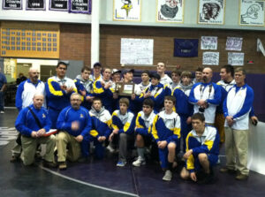The wrestling team after the Zone tournament. /Courtesy • Heather Nelson