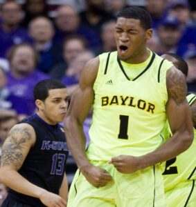 Perry Jones III of Baylor reacts after being fouled by Kansas State. /Shane Keyser • Wichita Eagle/MCT