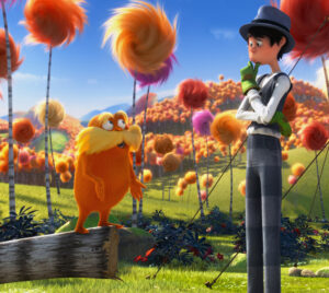 """Dr. Seuss' """"The Lorax"""" features Danny DeVito as The Lorax and Ed Helms as the Once-ler. /Courtesy • Universal Pictures"""