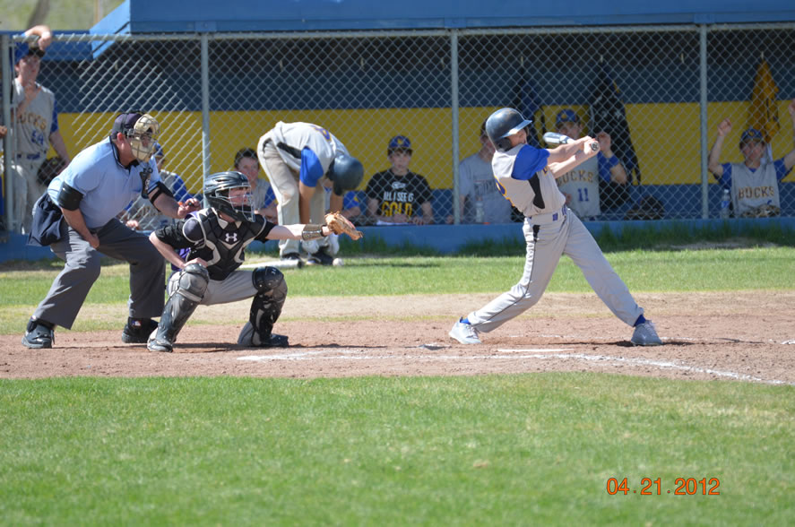 Daniel Pollock swings at a pitch against Spring Creek. /Courtesy • Lorin Noble