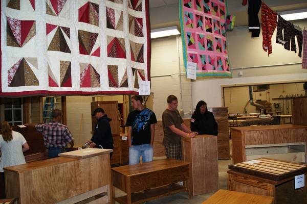 Woods and Textiles on display in Mr. Bernard's wood shop at Lowry High. /Courtesy • Courtney Rorex