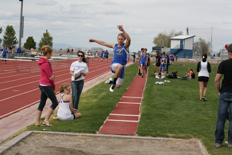 Elijah Frei practicing the long jump. /Justin Albright • The Brand