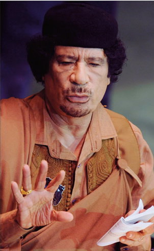 Moammar Gadhafi addresses the United Nations General Assembly in New York City. /MCT