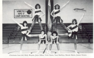 Then they did easier stunts such as thigh stands, and the team only consisted of six girls. Clockwise from left Holly Wayson, Jolyn Dillion, Vicki Clarno, Tami Rathbun, Brenda Martin Juneen Ferraro.
