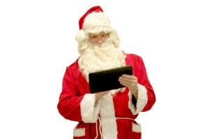 Santa Claus checking his