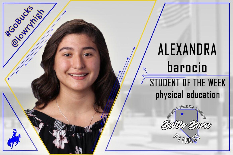 Mr. Calvin Connors announces Alexandra Barocio as Student of the Week