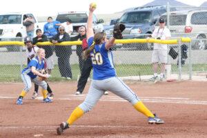 Shannon McClellan pitches against Elko. /Marc Esquivel • The Brand