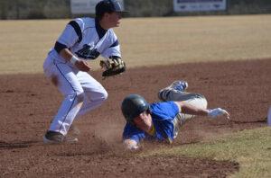 Jace Billingsley slides into third base against Damonte Ranch. /Courtesy • Lorin Noble