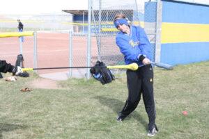 Kayla Doyle works on her hitting during softball practice. /Brandon Eastman • The Brand