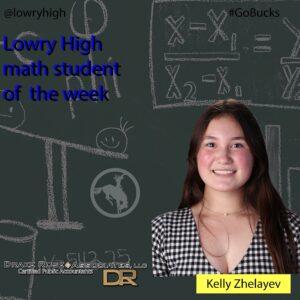 Kelly Zhelayev Student of the Week